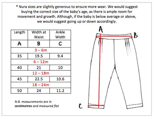 The Angus Pants Size Chart